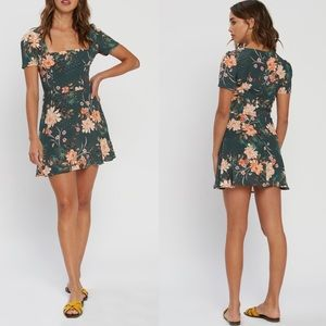 NWT Flynn Skye Maiden Mini Dress Green Floral XS